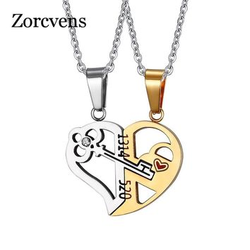 ZORCVENS Romantic Couples Heart Key Crystal Pendant Her & His Love Necklace Set Lover Valentine Stainless Steel Necklace
