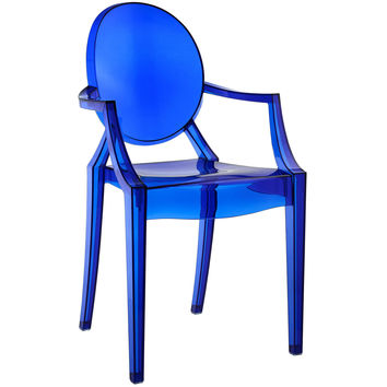 Philippe Starck Style Louis Ghost Arm Chair Blue