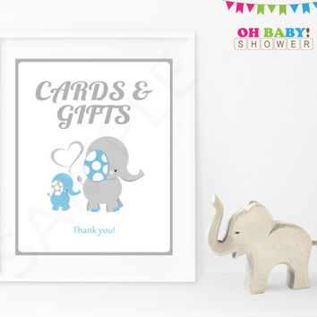 Cards and Gifts Baby Shower Sign Blue and Gray Elephant Elephant Baby Shower Boy Decorations Table Sign Printable Instant Download ELLBG
