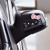 Boutique Sticker 2PCS Pink Bow White Hello Kitty Rearview Mirror Car Stickers Wall Decals