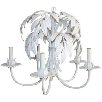 Pre-owned Palm Frond Faux Bamboo Tole Chandelier