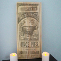 Mince pies sign-Shabby chic decor-Kitchen wall decor-Country kitchen decor-Primitive kitchen decor-Vintage ad sign-FREE SHIPPING
