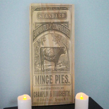 Mince Pies Sign Shabby Chic Decor Kitchen Wall Country