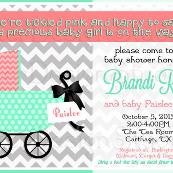 Chevron Baby Carriage Pink Mint Baby Shower Invitation - Printable