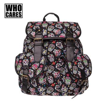 Fashion Women Backpack Personality Mexican Flower Skull Printed Schoolbag Hip-hop Halloween Men Vintage Bags Scool Bag for Girl