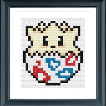 Togepi Cross Stitch Pattern, Easy Cross Stitch, Egg Cross Stitch, Cute Cross Stitch, PDF CHART