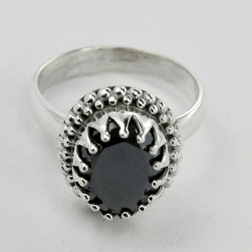 Hematite Stone Ring, Natural Stone Silver Ring,Hematite (Gunmetal) Gemstone,Handmade silver ring, 925 Sterling Silver Ring Size US 5 6 7 8 9