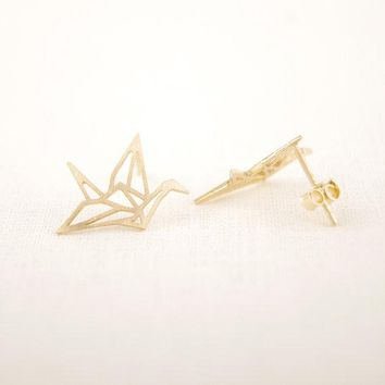 SMJEL Fashion New Tiny Cute Origami Crane Earrings Stud Brincos Elegant Bird Animal Stud Earrings For Women's Gift Party