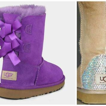 DCCK8X2 Toddler, Little Kid, and Youth UGG Bailey Bow Sheepskin Boots with Swarovski Crystal E