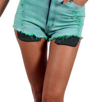 High waist Mint Shorts