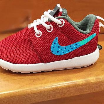 Boys Nike Roshe custom sneakers, Toddler boys cute nike design, polka dots, green, navy, green color, red nike roshe custom