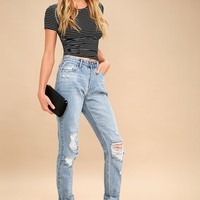 Haven Light Wash Distressed High-Waisted Jeans