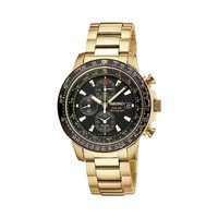 Seiko Solar Stainless Steel Gold Tone Flight Computer Chronograph Watch - SSC008 - Men (Yellow)