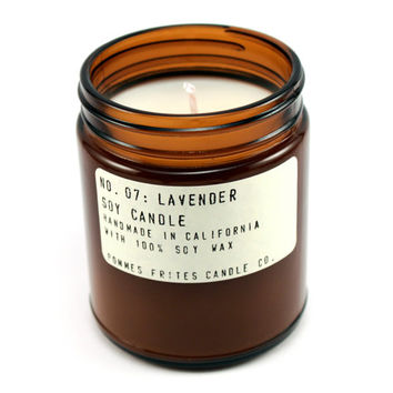 no. 7: lavender - 7.5 oz soy wax candle - apothecary style jar - hand poured container candle - spa candle - pommes frites candle co