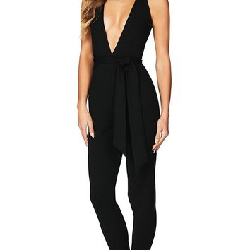 Standing Guard Black Sleeveless Halter Plunge V Neck Backless Skinny Bodycon Jumpsuit