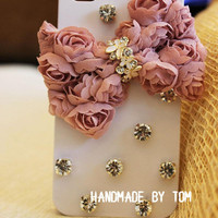 Fashion bows lace iphone 5 case iphone 4 case iphone 4s case bling bling bows iphone cover