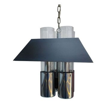 Pre-owned 70'S Modern Chrome and Glass Pendant Light