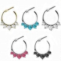 ac DCCKO2Q 1 Piece Alloy 5 Crystal Nose Ring Septum Clicker Tragus Rings Piercing Body Jewelry Nose Hanger