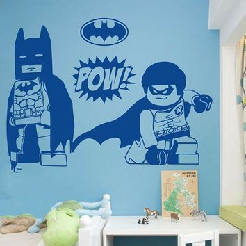 Batman & Robin Art Decals Home Decor Vinyl Wall Stickers for Kids Rooms 100x139cm Colors Customizable
