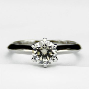Round 0.8ct Lab Grown Diamond Classic 6 Prongs 14k White Gold Engagement Ring Solitaire  Moissanites Wedding Ring