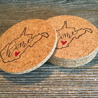 West Virginia Coasters, Absorbent Cork Coasters, Set of 4 Coasters, West Virginia Home Coasters, West Virginia Housewarming Gift - Item# 010