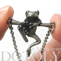 Baby Frog on a Branch Animal Charm Necklace in Silver