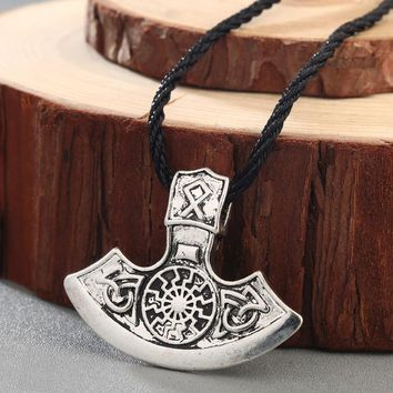 CHENGXUN Elder Men Necklace Viking Celtic Knot Axe Thor's Hammer Pendant Slavic Amulet Necklace Adjustable Cord for Friends Gift
