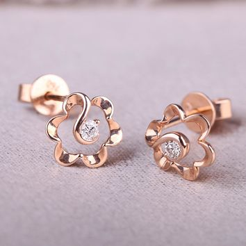 DOUBLE-R 0.05ct Genuine Diamond 18k Rose Gold Earrings Real Pure Solid 18k Gold Diamond Stud Earrings For Girls