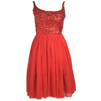 1960s HOT RED SEQUIN & CHIFFON COCTAIL PARTY DRESS Junior size