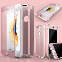 Luxury Slim Front Back Glass Film + Silicone & Aluminum Frame Cover For Apple iPhone 6 6S 4.7 Case 360 Degree Full Coverage Capa