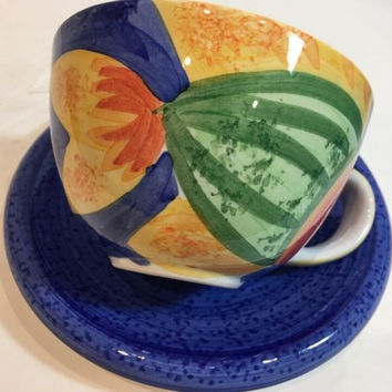 Bella Ceramica Gone Fishing Cup & Saucer Multi-Color Hand Painted Fish