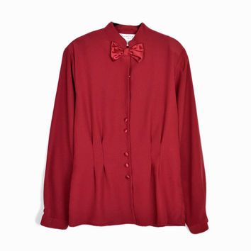 Vintage Oscar de la Renta Bowtie Blouse in Crimson Red
