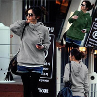 Women's Trending Popular Fashion 2016 Everyday Wear Sport Zipper Casual Simple Pullover Hoodie Sweatshirt Blouse Shirt  _ 9037