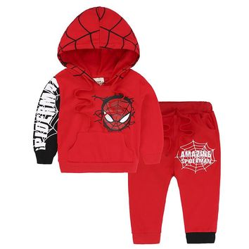 Children spring autumn suit Girls Spideman Clothes Brand Toddler Boys Sport Hooded Clothing Sets