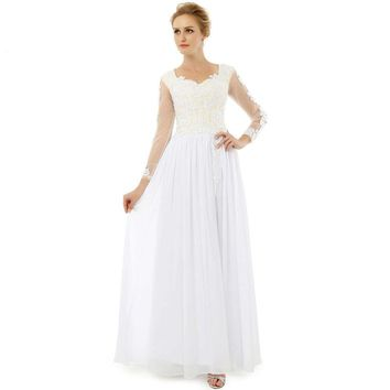 Beauty High Slit Chiffon Long Prom Dresses Appliques Sweetheart Long Sleeves Floor Length Prom Party Gowns