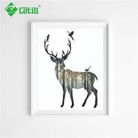 Cotill Canvas Painting Deer Wall Pictures Oil Decoratiove Pictures Home Decor Canvas Wall Art Posters No Frame