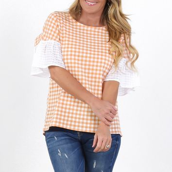 Two-Tone Gingham Top