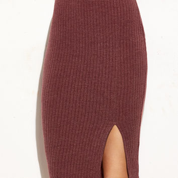Burgundy Ribbed Pencil Skirt