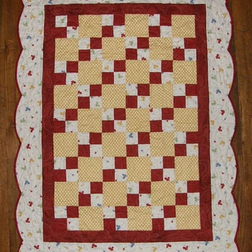 Crib Quilt Baby Quilt Quilted Throw Red Yellow White Butterfly Quilt Scalloped