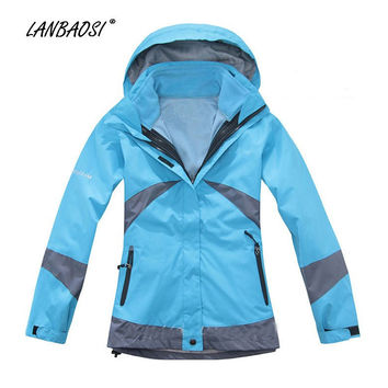 LANBAOSI Women's Outdoor Double Layer Waterproof Hiking Skiing Ski Snow Suit Windproof Sports Jacket Warm Two-Piece outfit