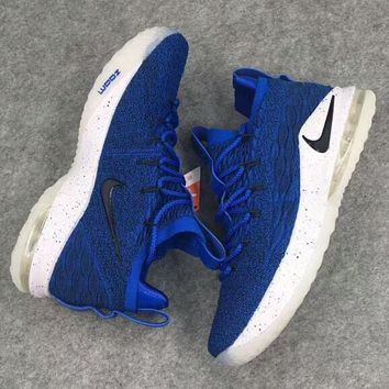 NIKE Lebron James 15 Low New Fashion Hook Print Knit Air Cushion Sports Running Men High Quality Shoes Blue