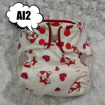 Valentine Foxes and Hearts All In Two (AI2) Cloth Diaper - One-Size or Newborn, S, M, L