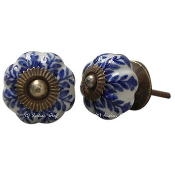 Handmade Knobs, Ceramic Knobs, Drawer Knobs, Cabinet Knobs, Indian Knobs, Vintage Knobs, Knob Pull, Blue & White Knobs, Melon Knobs CK-184