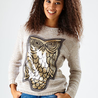 Sequin Front Owl Jumper / Beige - Womens Clothing Sale, Womens Fashion, Cheap Clothes Online | Miss Rebel