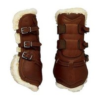 Dover Premier Leather Open Front Horse Boots with Fleece and Buckle Closure | Dover Saddlery