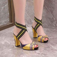 Gucci Sandals Fish Mouth Fashion Shoes 95mm Stiletto Heel Leather Yellow Casual Women Slippers