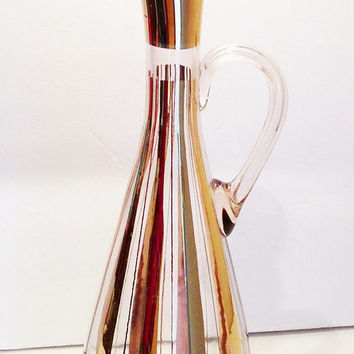 Vintage Holt Howard's Pixie Style Atomic Eames Era Gold Striped Hand Blown Glass Decanter