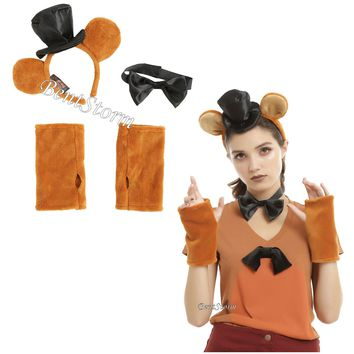 Licensed cool Freddy Fazbear Five Nights at Freddys Adult Headband Hat Bow Tie Costume Kit NEW