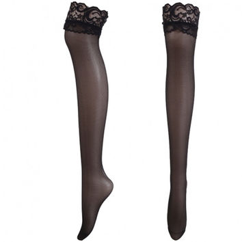 New Fashion Women Lace Decoration Long Sexy Knee Thigh High Boot Tights Leg Warmers