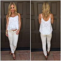 Glamorous Floral Texture Tank - Ivory